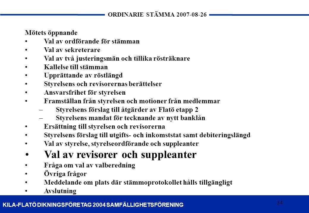 Val av revisorer och suppleanter
