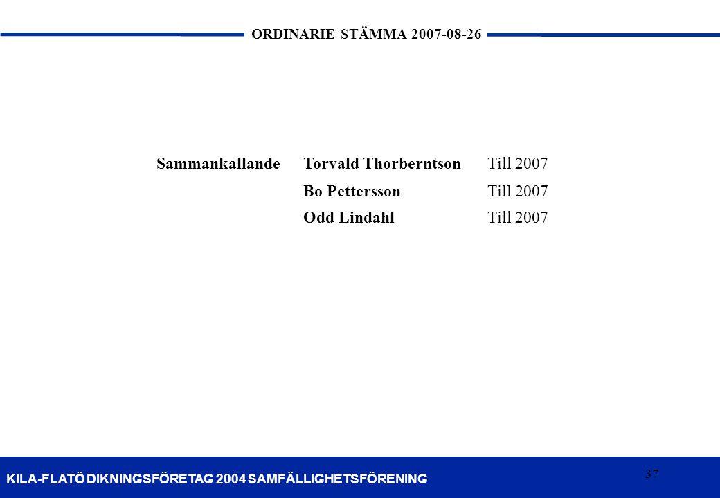Sammankallande Torvald Thorberntson Till 2007 Bo Pettersson Odd Lindahl