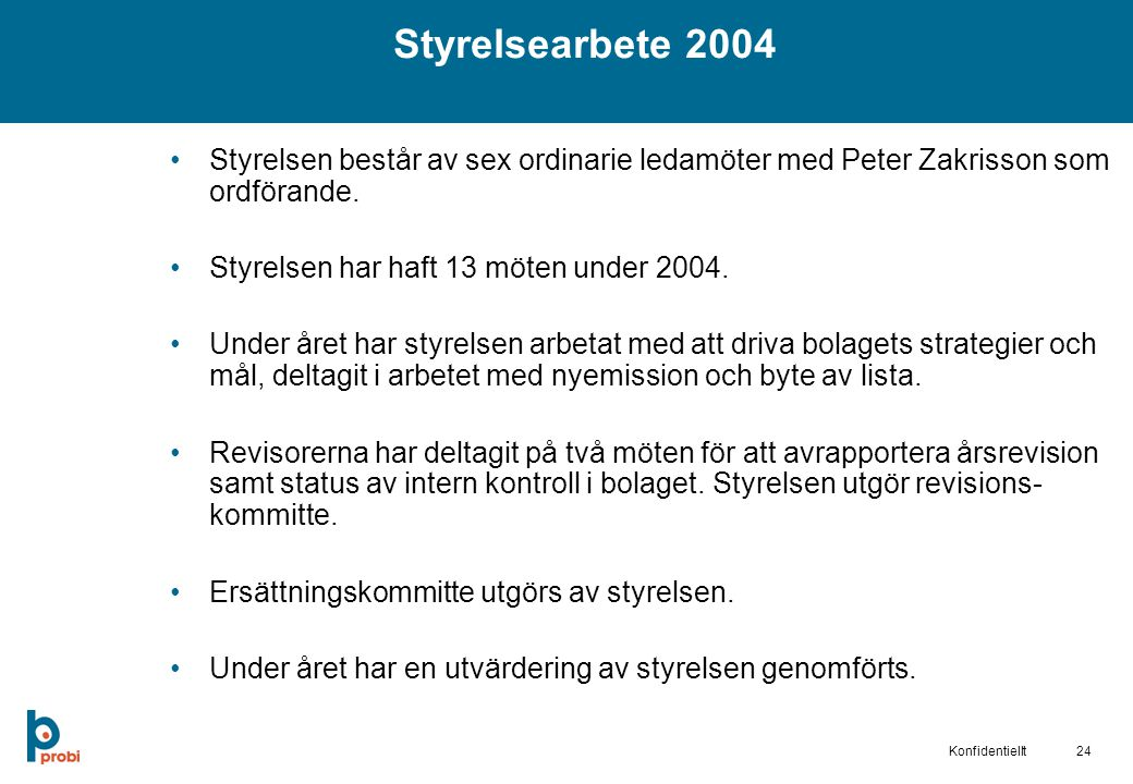 Styrelsearbete 2004 Styrelsen består av sex ordinarie ledamöter med Peter Zakrisson som ordförande.