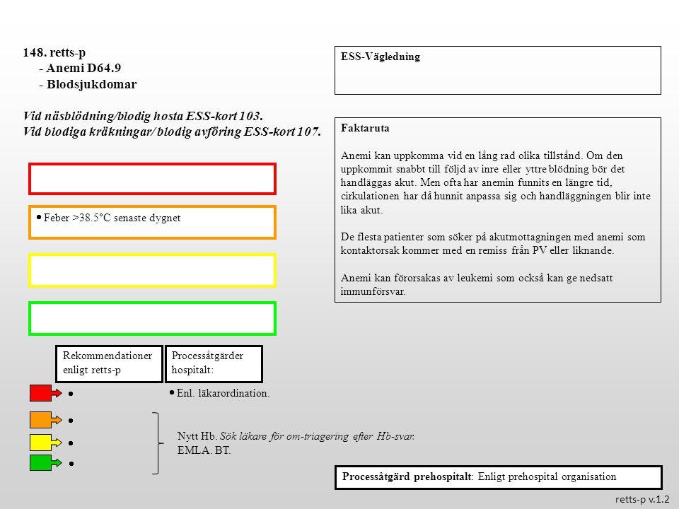 Vid näsblödning/blodig hosta ESS-kort 103.
