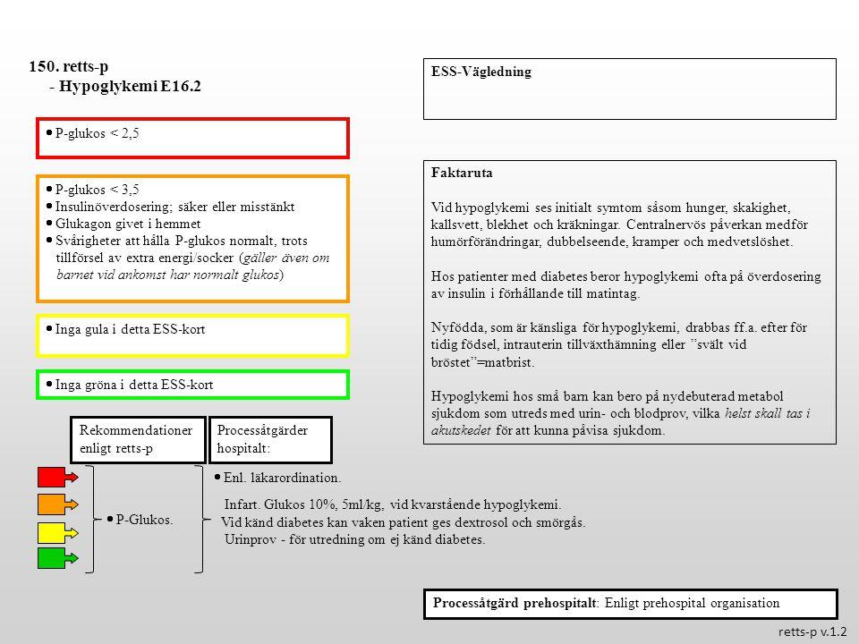 150. retts-p - Hypoglykemi E16.2 ESS-Vägledning  P-glukos < 2,5