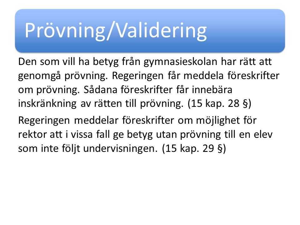 Prövning/Validering