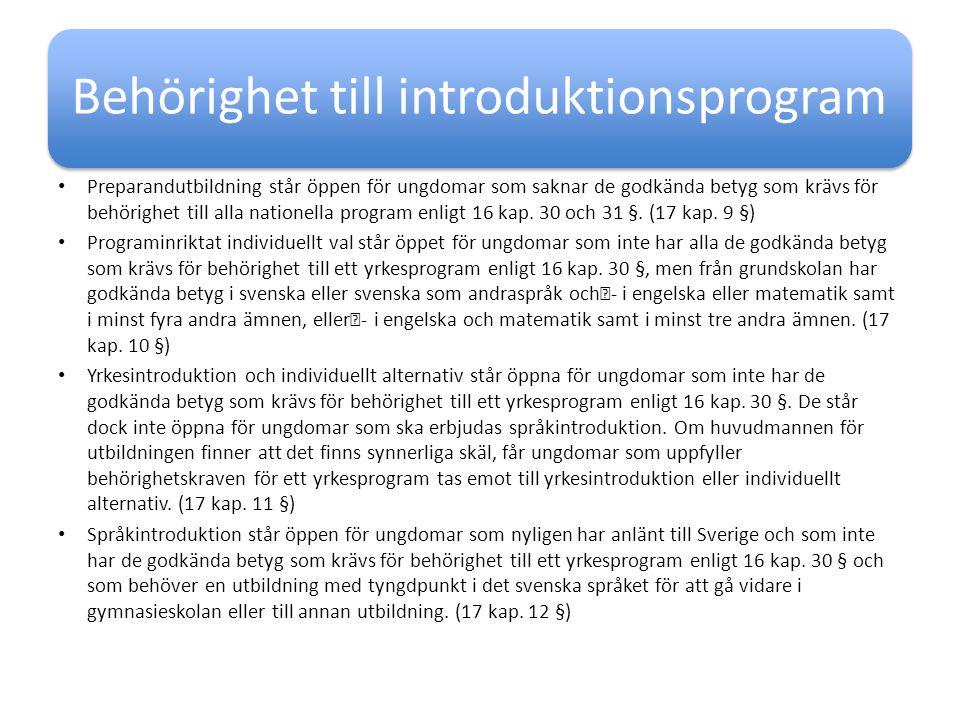 Behörighet till introduktionsprogram