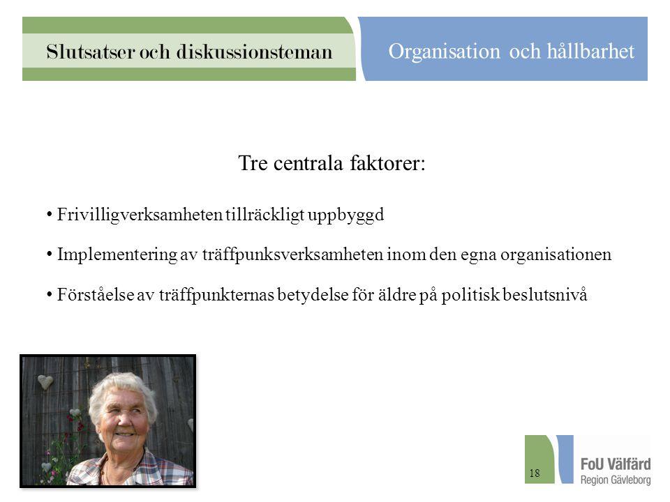 Slutsatser och diskussionsteman Organisation och hållbarhet