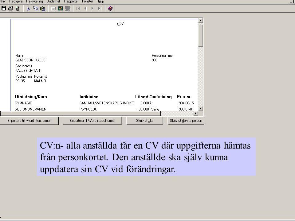 CV:n- alla anställda får en CV där uppgifterna hämtas från personkortet.