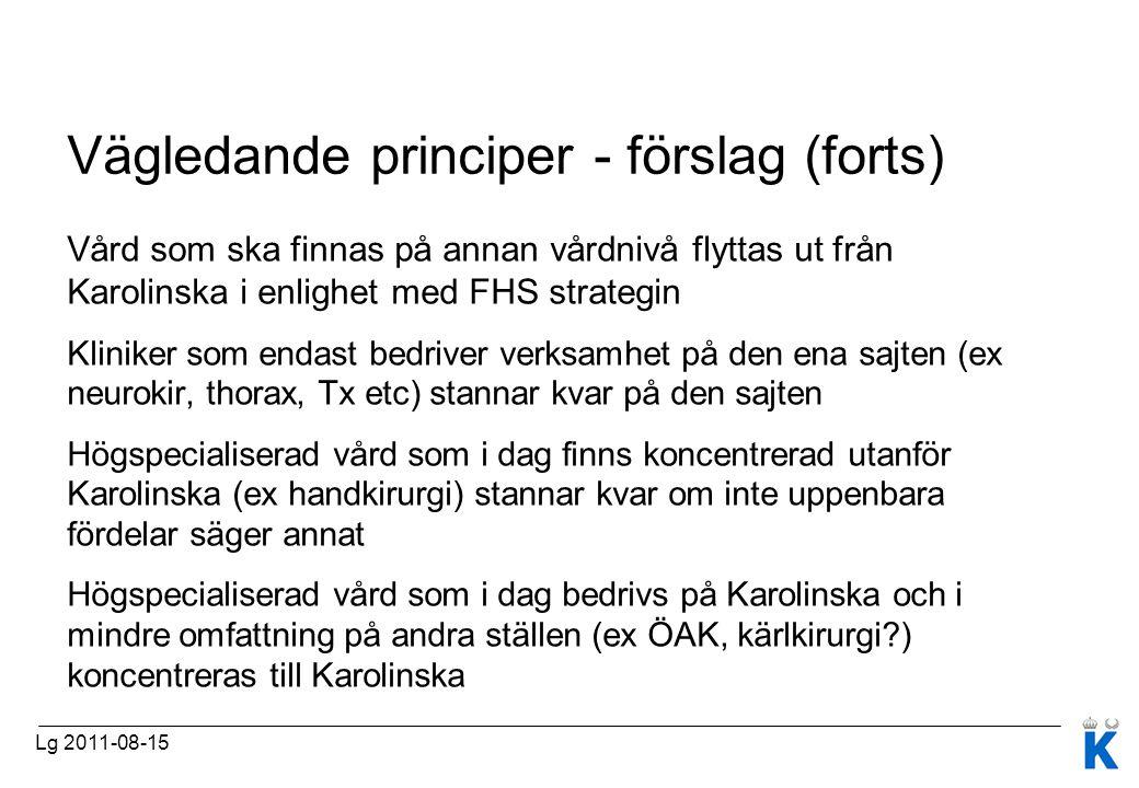 Vägledande principer - förslag (forts)