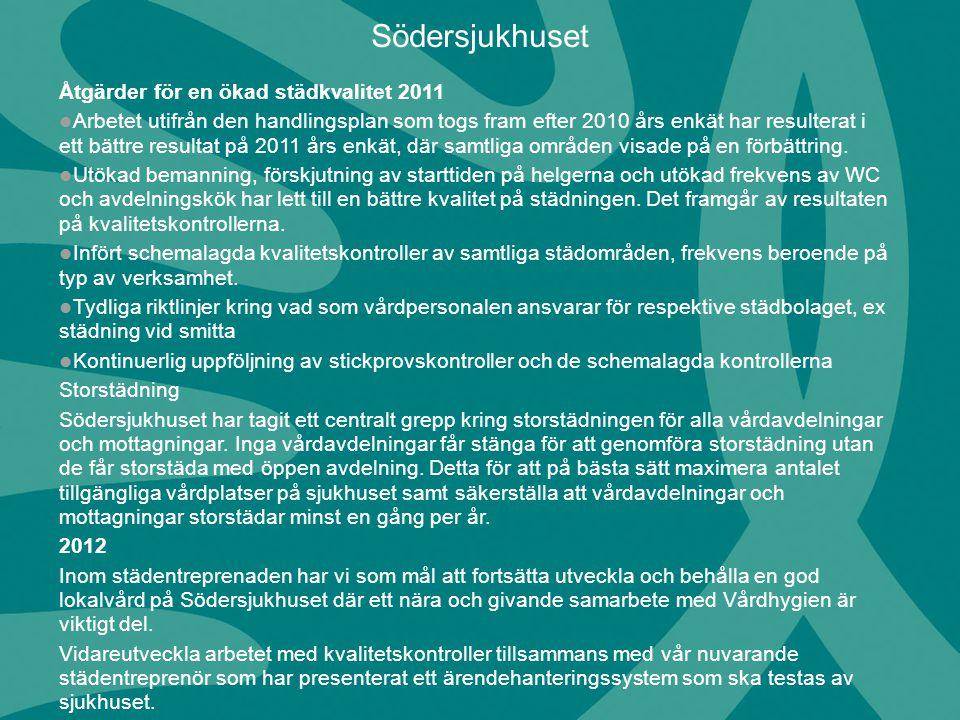 Södersjukhuset Åtgärder för en ökad städkvalitet 2011