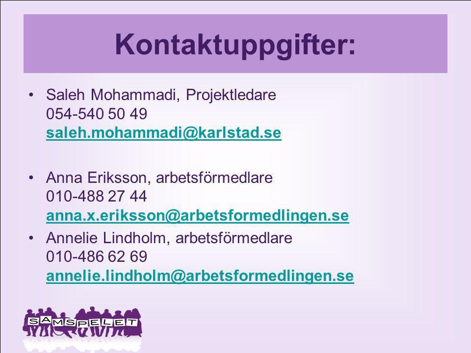Kontaktuppgifter: Saleh Mohammadi, Projektledare 054-540 50 49 saleh.mohammadi@karlstad.se.