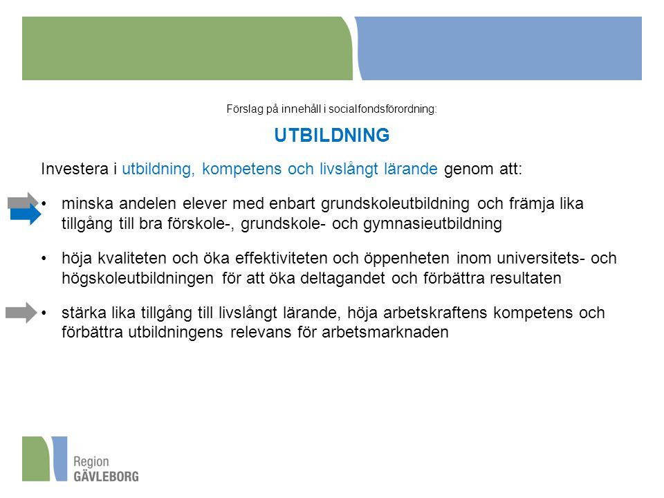 Förslag på innehåll i socialfondsförordning: UTBILDNING
