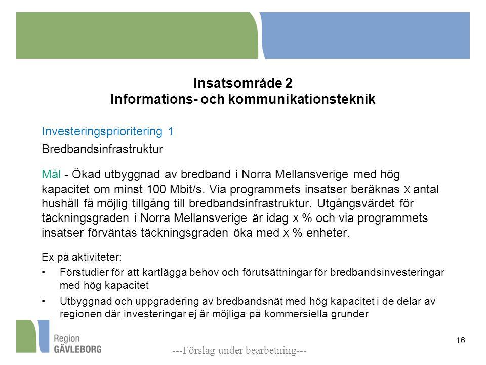 Insatsområde 2 Informations- och kommunikationsteknik