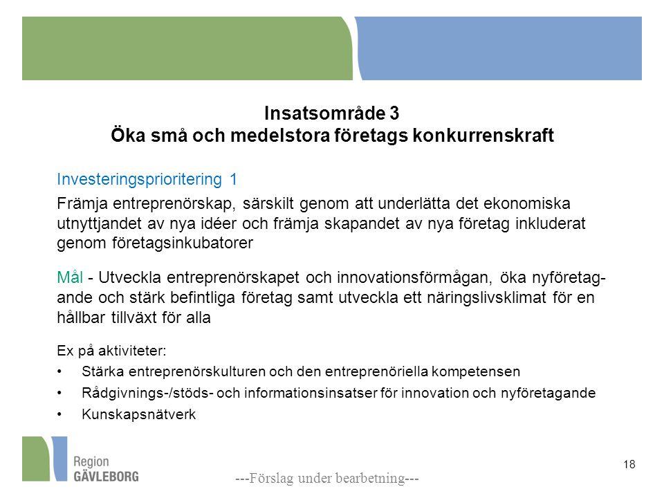 Insatsområde 3 Öka små och medelstora företags konkurrenskraft