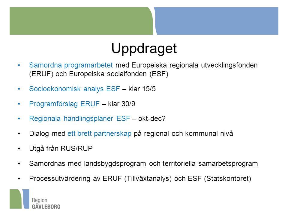 Uppdraget Samordna programarbetet med Europeiska regionala utvecklingsfonden (ERUF) och Europeiska socialfonden (ESF)