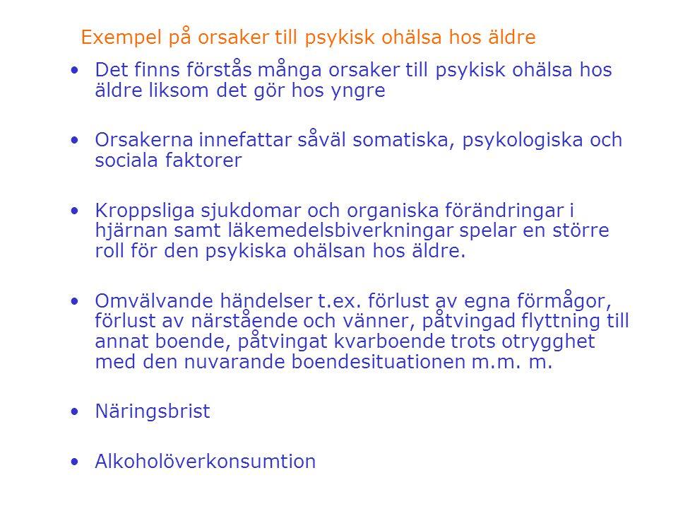Exempel på orsaker till psykisk ohälsa hos äldre