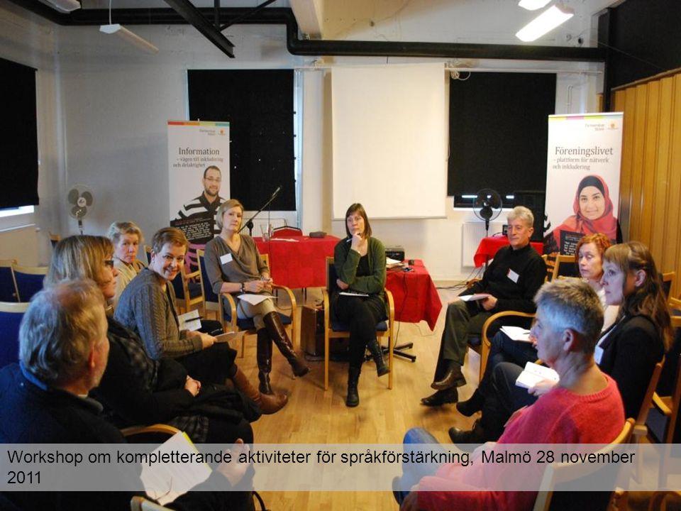 Workshop om kompletterande aktiviteter för språkförstärkning, Malmö 28 november 2011