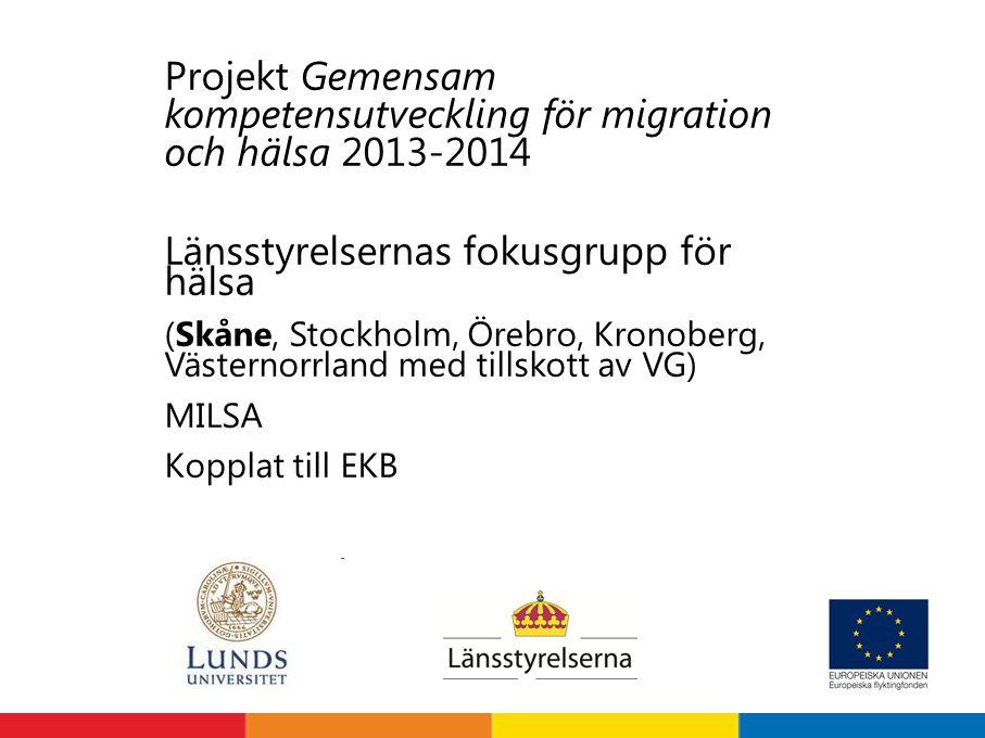 Projekt Gemensam kompetensutveckling för migration och hälsa 2013-2014