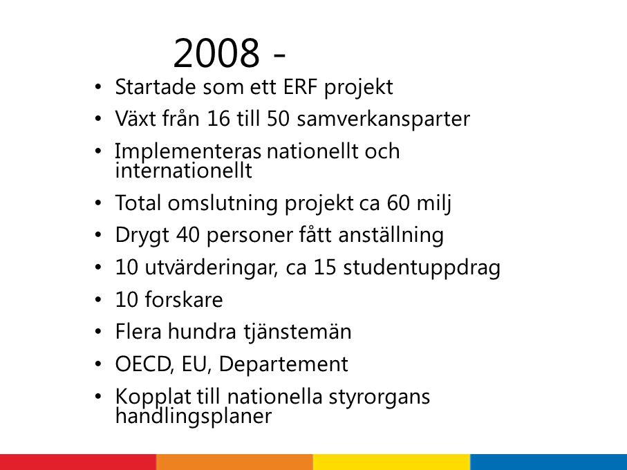 Startade som ett ERF projekt Växt från 16 till 50 samverkansparter