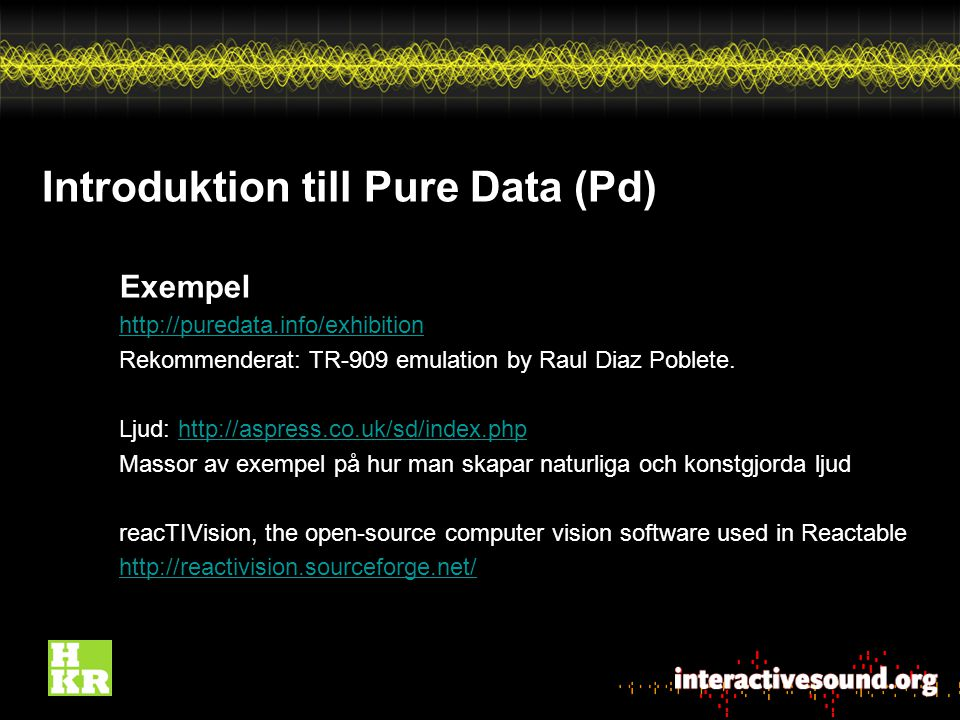 Introduktion till Pure Data (Pd)
