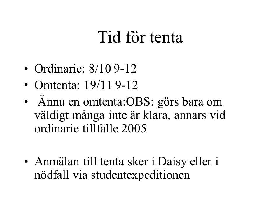 Tid för tenta Ordinarie: 8/10 9-12 Omtenta: 19/11 9-12