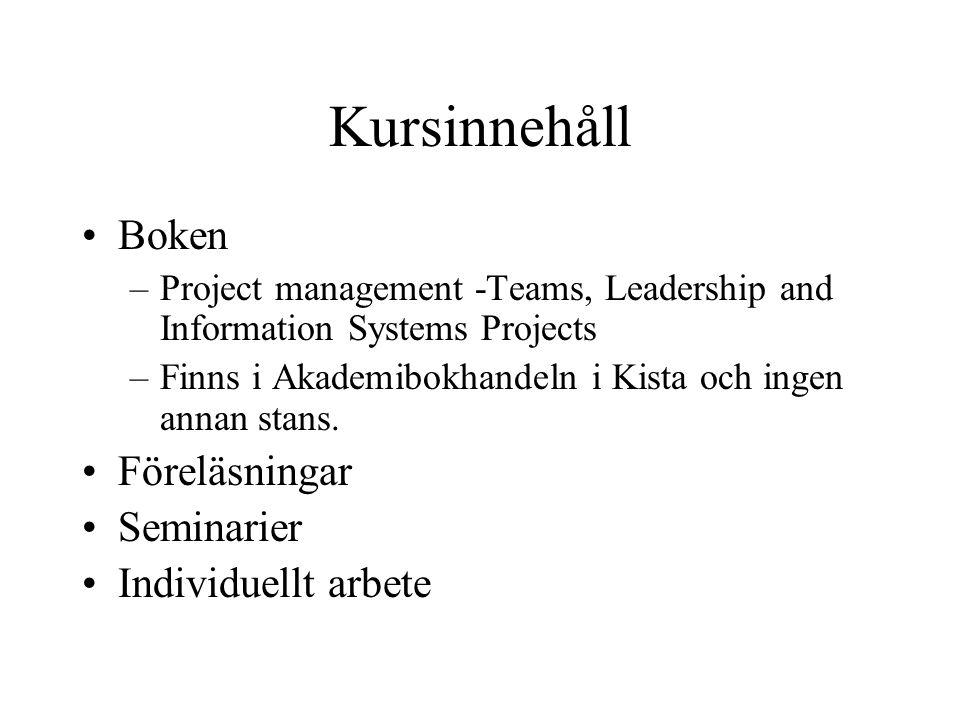 Kursinnehåll Boken Föreläsningar Seminarier Individuellt arbete
