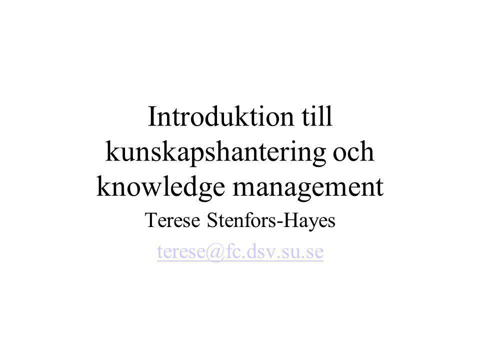 Introduktion till kunskapshantering och knowledge management