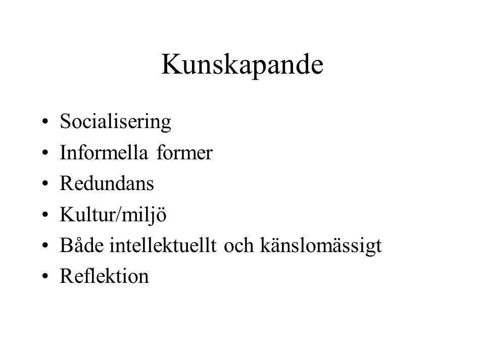 Kunskapande Socialisering Informella former Redundans Kultur/miljö