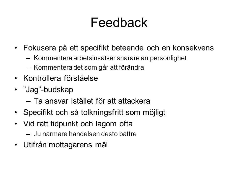 Feedback Fokusera på ett specifikt beteende och en konsekvens