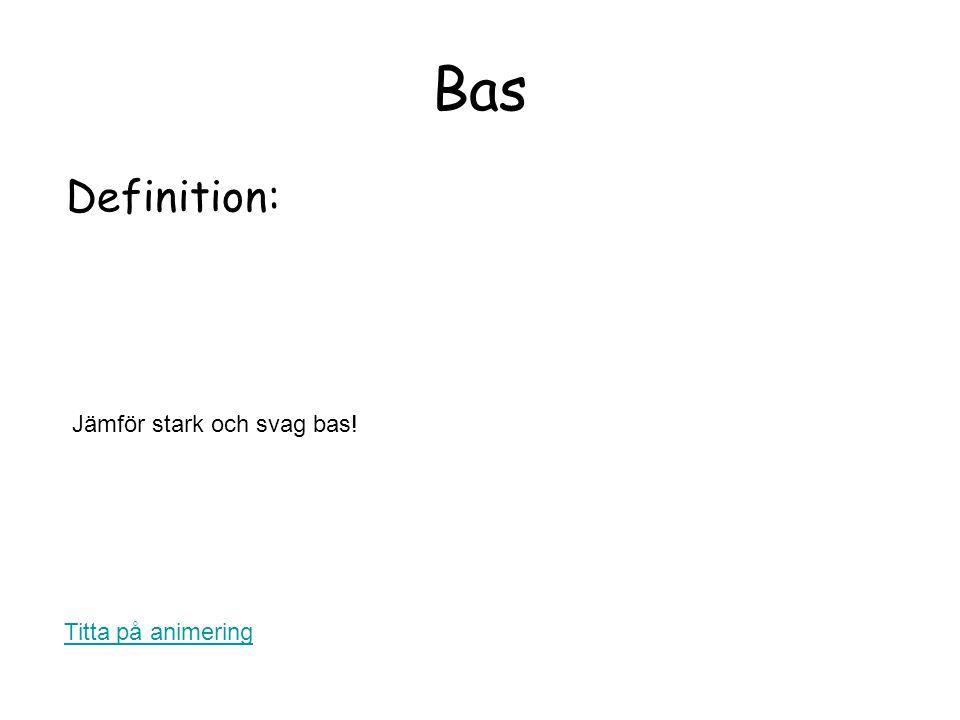 Bas Definition: Jämför stark och svag bas! Titta på animering