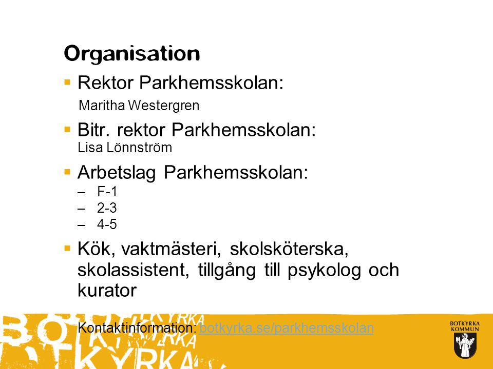 Rektor Parkhemsskolan: Bitr. rektor Parkhemsskolan: Lisa Lönnström