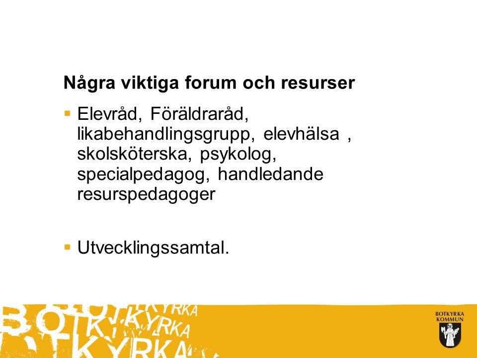 Några viktiga forum och resurser