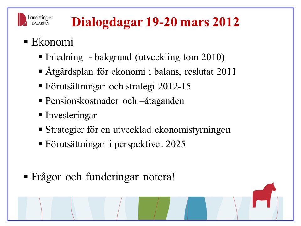 Dialogdagar 19-20 mars 2012 Ekonomi Frågor och funderingar notera!