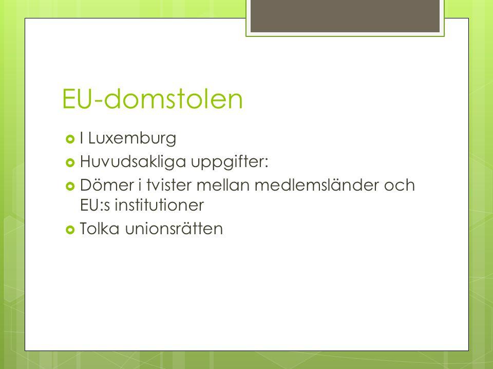 EU-domstolen I Luxemburg Huvudsakliga uppgifter:
