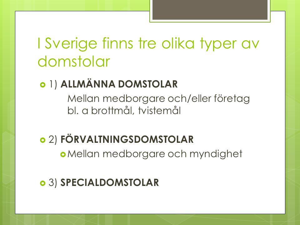 I Sverige finns tre olika typer av domstolar