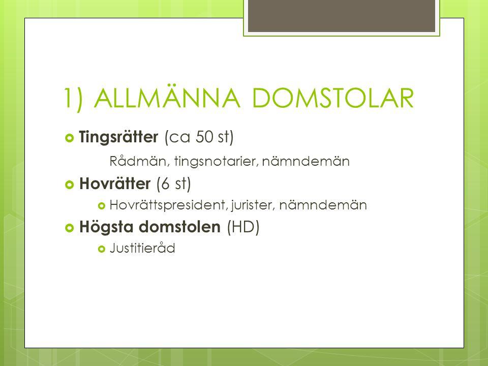 1) ALLMÄNNA DOMSTOLAR Tingsrätter (ca 50 st)