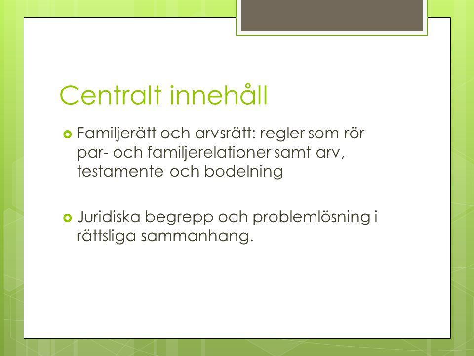 Centralt innehåll Familjerätt och arvsrätt: regler som rör par- och familjerelationer samt arv, testamente och bodelning.