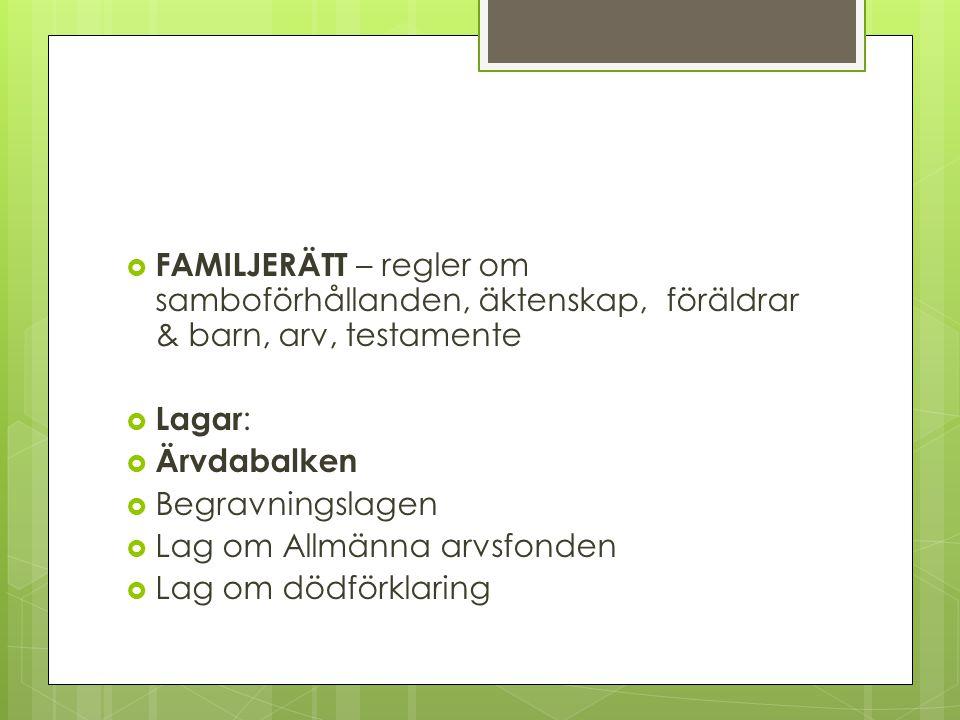 FAMILJERÄTT – regler om samboförhållanden, äktenskap, föräldrar & barn, arv, testamente