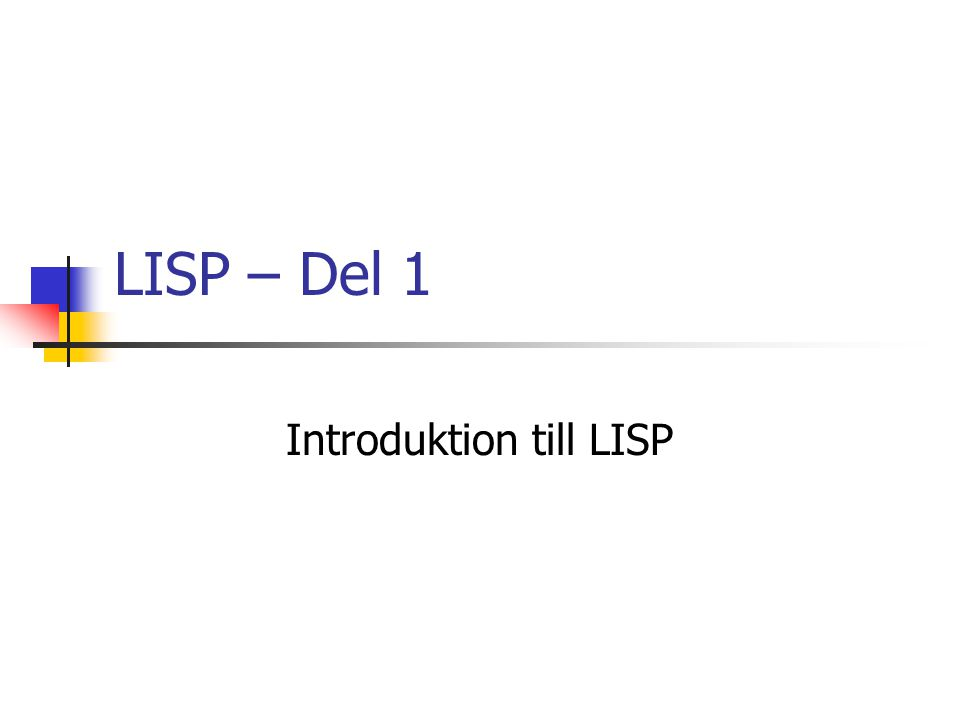 Introduktion till LISP