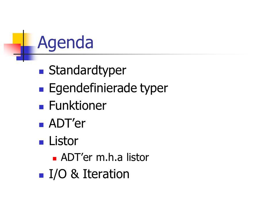 Agenda Standardtyper Egendefinierade typer Funktioner ADT'er Listor
