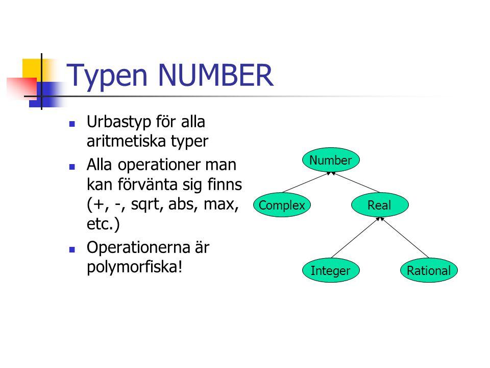 Typen NUMBER Urbastyp för alla aritmetiska typer