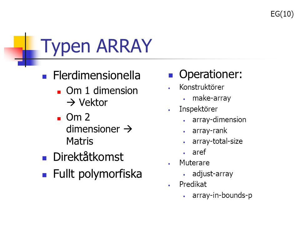 Typen ARRAY Operationer: Flerdimensionella Direktåtkomst
