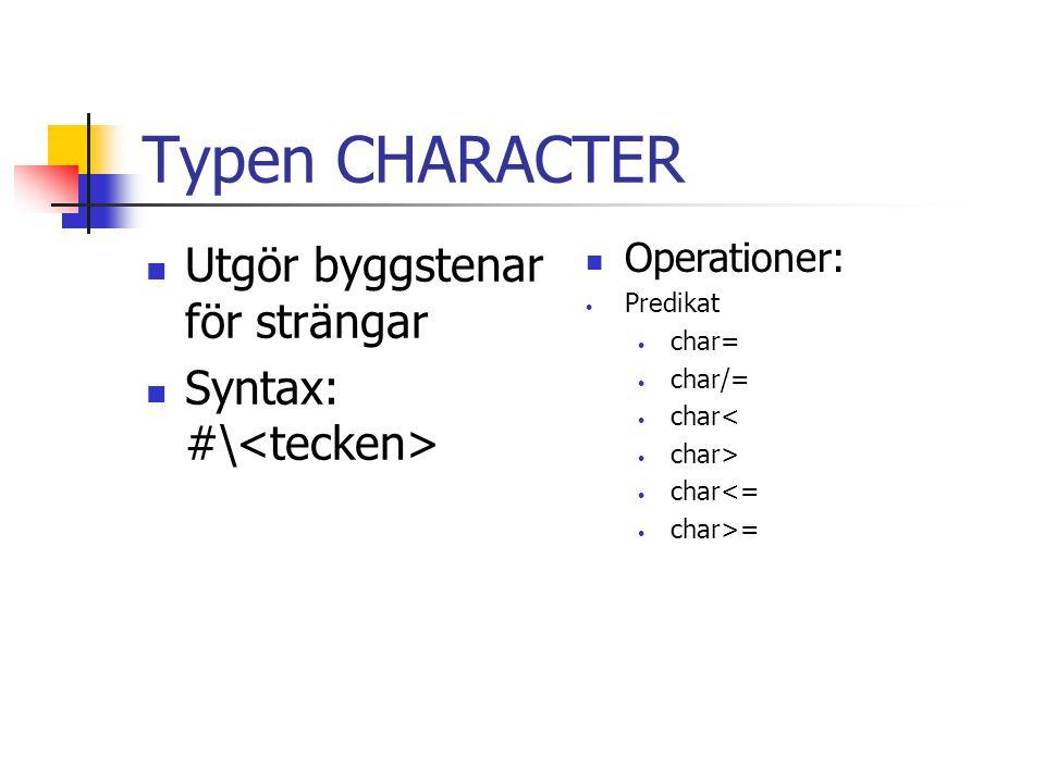 Typen CHARACTER Utgör byggstenar för strängar Syntax: #\<tecken>
