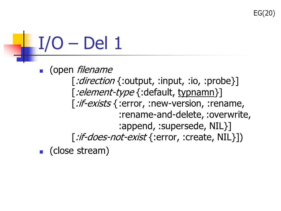 EG(20) I/O – Del 1.