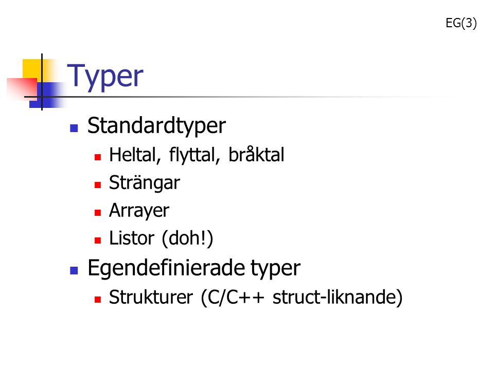 Typer Standardtyper Egendefinierade typer Heltal, flyttal, bråktal