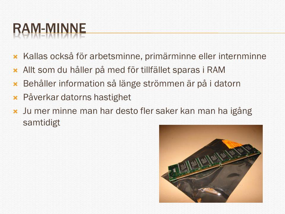 RAM-minne Kallas också för arbetsminne, primärminne eller internminne