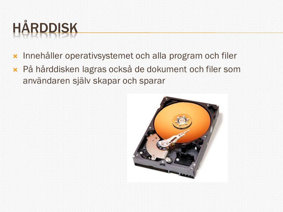 Hårddisk Innehåller operativsystemet och alla program och filer