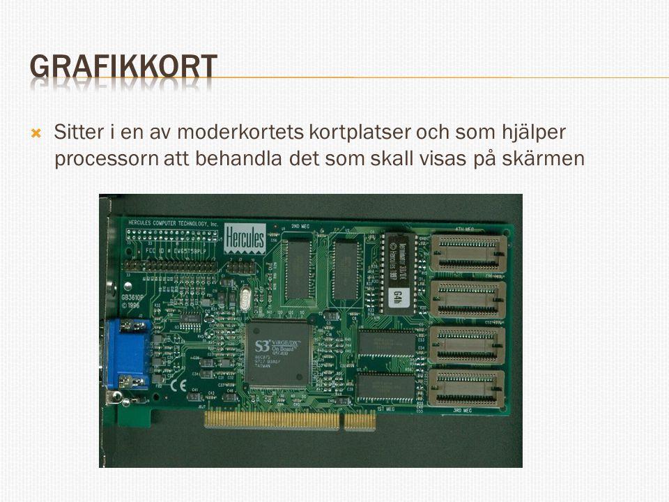 Grafikkort Sitter i en av moderkortets kortplatser och som hjälper processorn att behandla det som skall visas på skärmen.