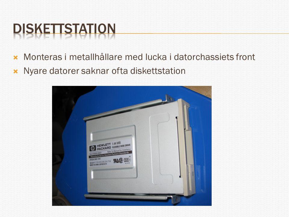 Diskettstation Monteras i metallhållare med lucka i datorchassiets front.
