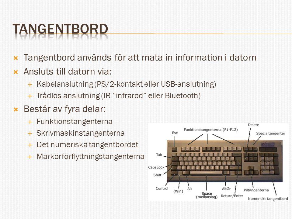 Tangentbord Tangentbord används för att mata in information i datorn