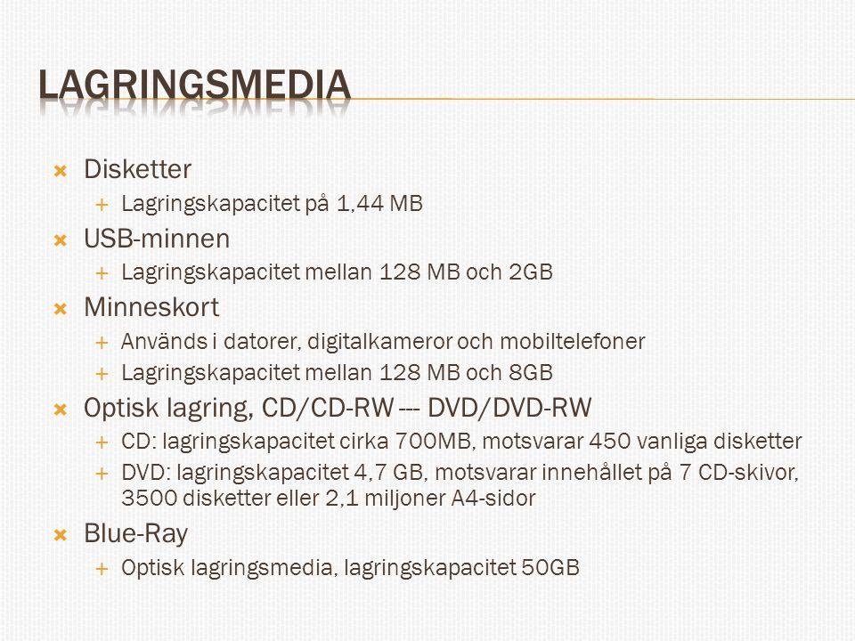 Lagringsmedia Disketter USB-minnen Minneskort