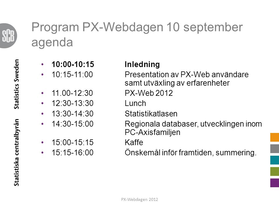 Program PX-Webdagen 10 september agenda