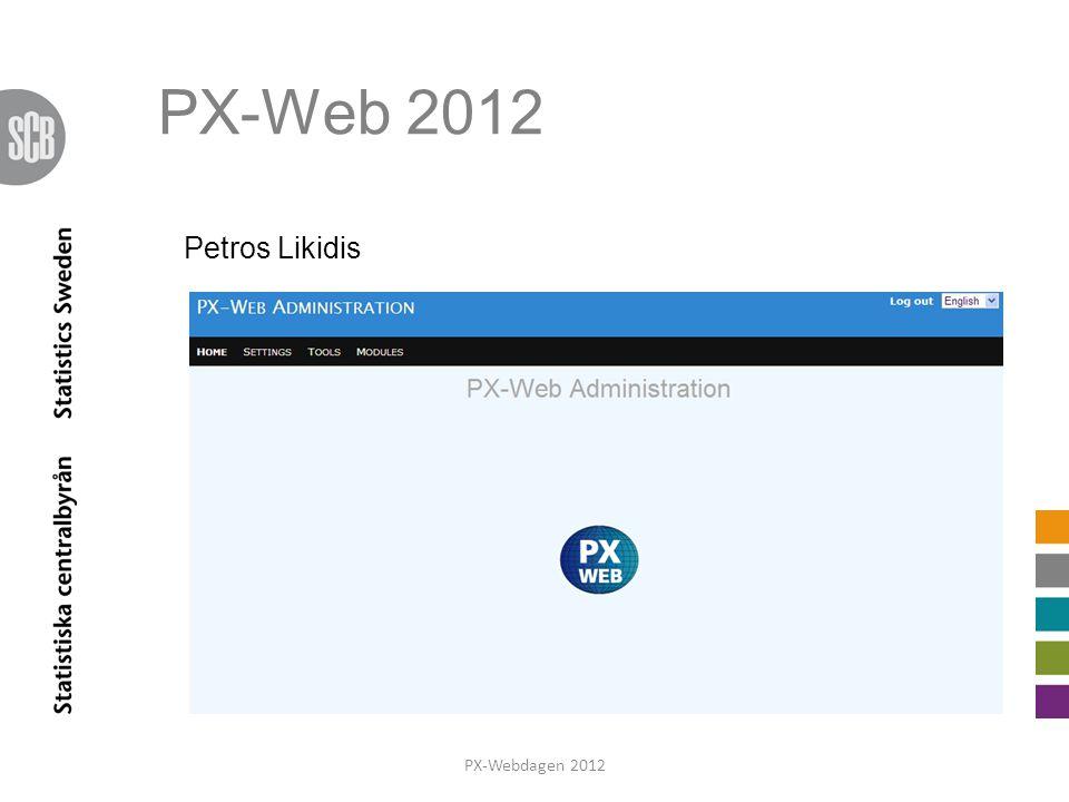 PX-Web 2012 Petros Likidis R introducerar Petros och arbetet med versionen. PX-Webdagen 2012